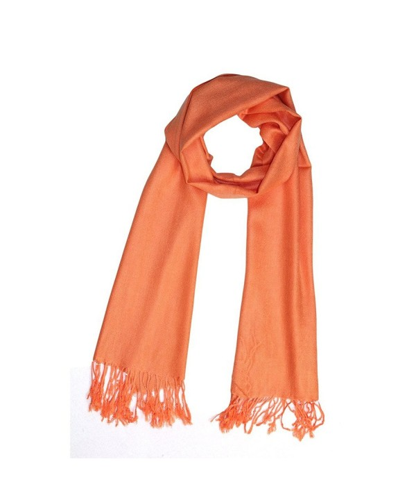 Reversible Pure Color Silky Beach Wrap Shawl Womens Decoration Scarf - Orange - C312H09N737