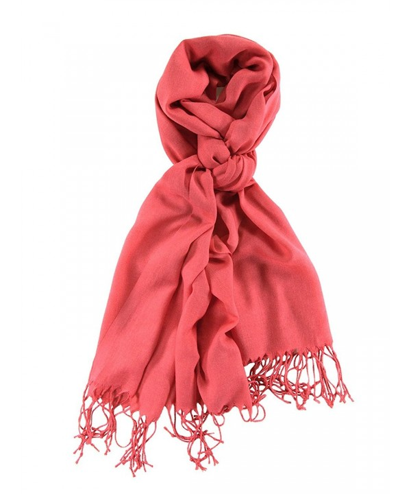 La Purse Light Weight Solid Color Pashmina Scarf- Silk Feel & - Coral Cloud - CJ11RW162C7