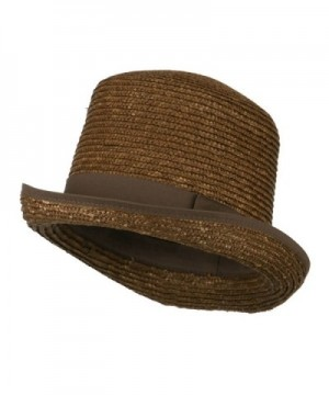 Wheat Braid Top Hat Fedora - Brown - CU11K1CO4ZL
