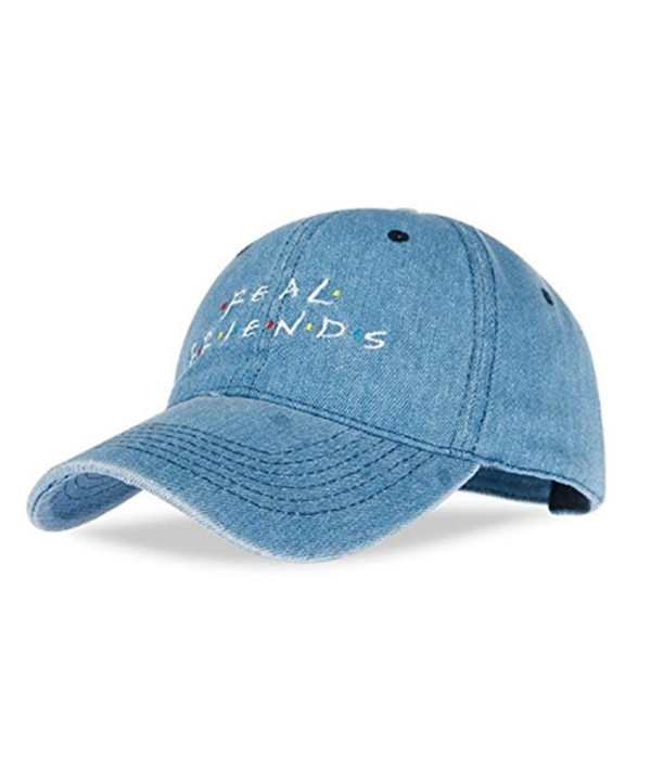 WENDYWU Unisex Real Friends Embroidered Panel Dad Hat Baseball Cap (Blue) - CJ17YHDDQ86