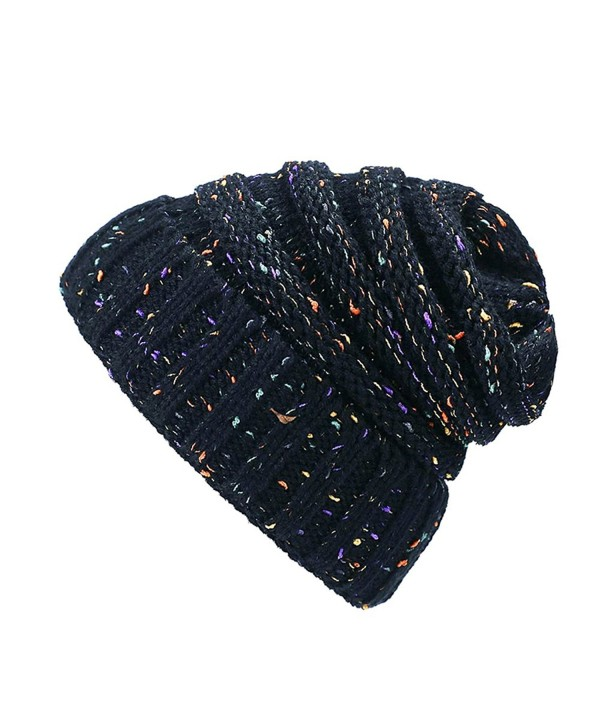 ANKND Knit Beanie Hat-Warm Chunky Soft Stretch Knit Cap Slouchy Beanie Skully Hat - Black - CP18828NOL3