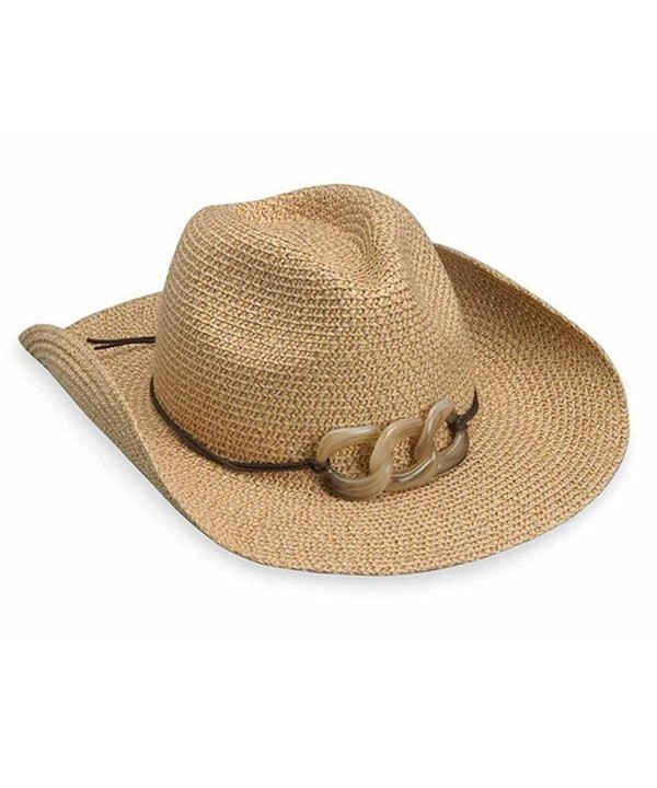 wallaroo Women's Sierra Sun Hat - 100% Paper Braid Cowboy Hat - UPF50+ - Natural - C011KPN0WAV
