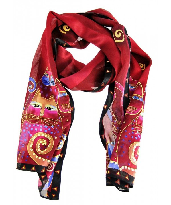 Laurel Burch Artistic Sequin Silk Scarf - Red - C91158FNBTL