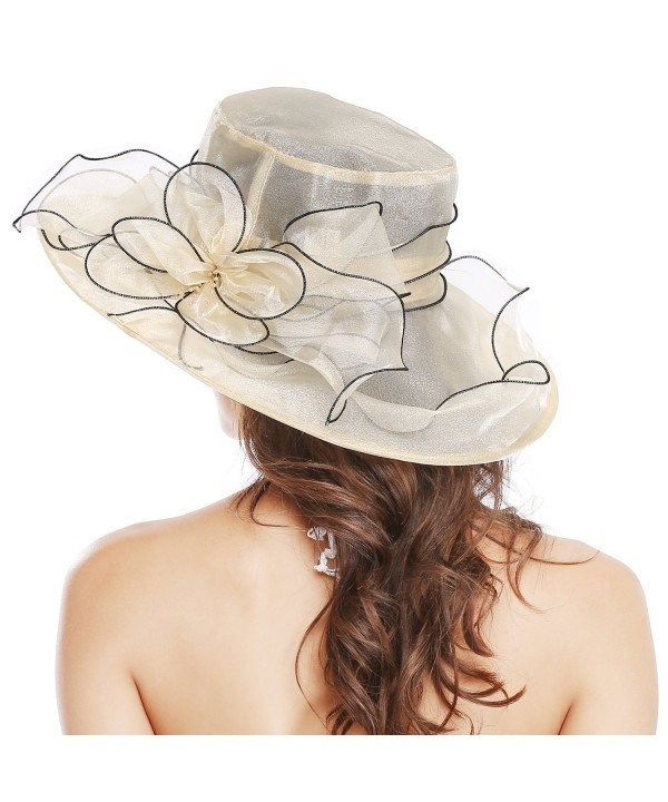 Bellady Womens Ladies Organza Church Wide Brim Tea Party Wedding Hat Fancy Kentucky Derby Fascinator Cap - Beige - C517Z6ZZ20H