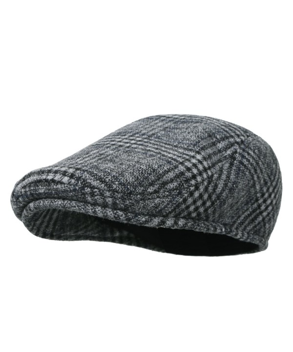 Howels Glen Plaid Wool Vintage Irish Newsboy Cap Duckbill Flat Hunting Hat - Grey - C8188KKLS0D