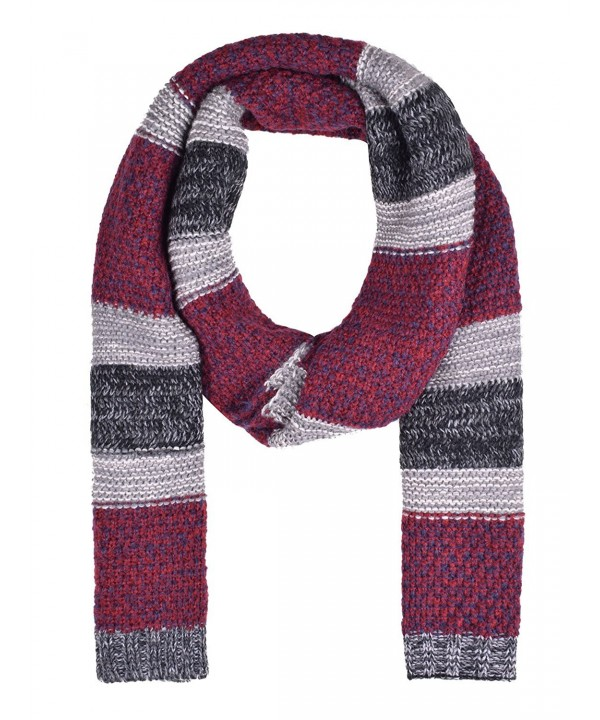 Unisex Knitted Scarf Warm Scarfs Mens Mixed Color Cute Scarves for Winter - Red - C01870C5EEL