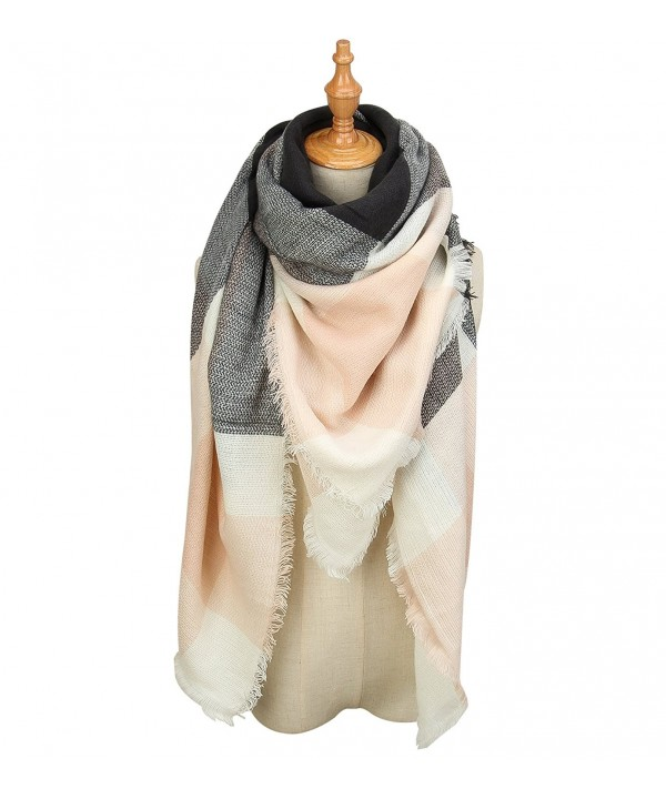 Genfien Women's Tassels Soft Plaid Tartan Scarf Winter Large Blanket Wrap Shawl - Pink - C0186YNOAIE