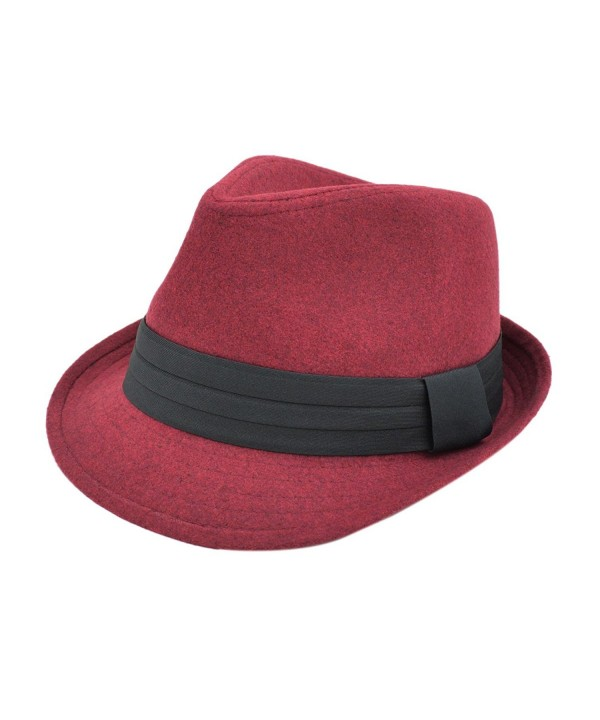 TrendsBlue Unisex Classic Solid Color Felt Fedora Hat With Black Band - Different Colors - Burgundy - CZ12CFYPIT3