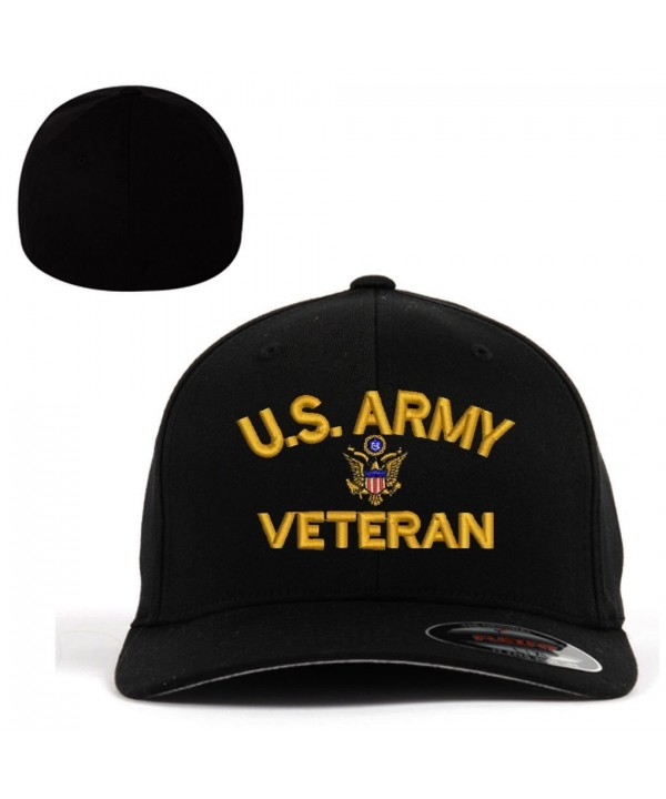ARMY U.S. Army Veteran Flexfit Baseball Cap Military Hat Black - C9182OSAETE
