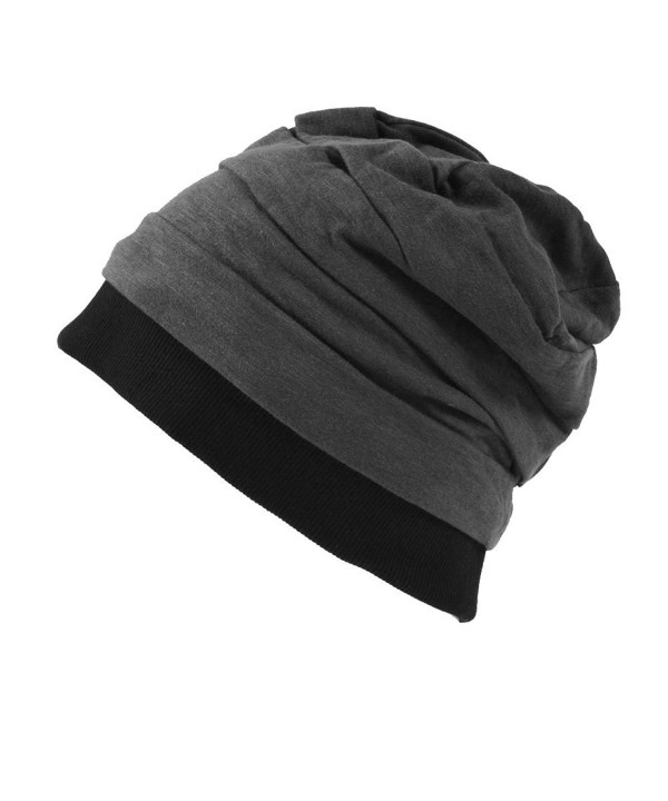 CHARM Casualbox  Mens Womens Japanese Design Cotton Linen Big Beanie Hat Baggy Slouch - Dark Gray - C111BJHVERN