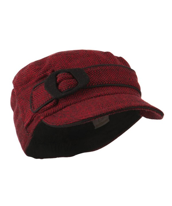 Fitted Herringbone Military Cap - Red - CT11GI7KVN7