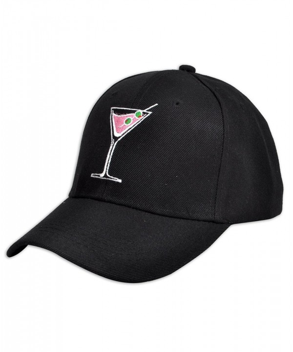 Martini Drink Cocktail Embroidered Baseball Cap - C512DSGRVXD