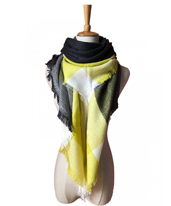 Wander Agio Womens Warm Long Shawl Wraps Large Scarves Knit Cashmere Feel Plaid Triangle Scarf - Big Yellow Grey - CF18692TN8T