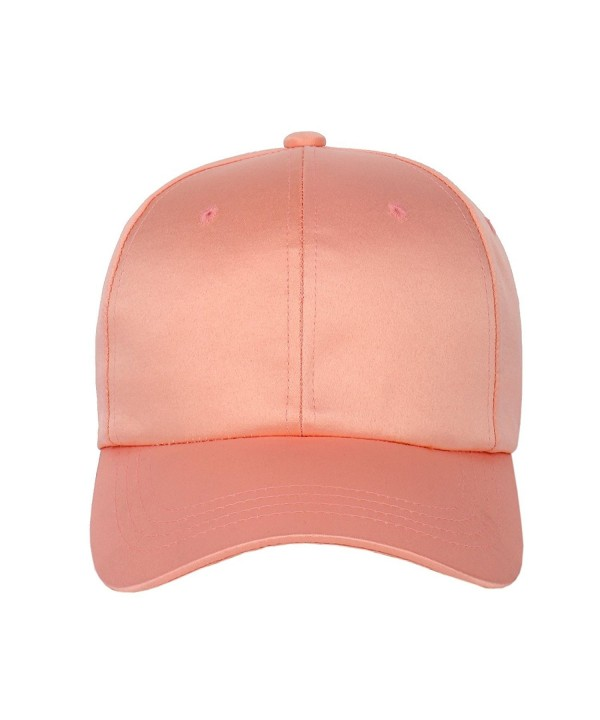 1611MAIN Unisex Satin Low Profile Baseball Strapback Dad Hat Cap - Pink - CL12O2TG7HT