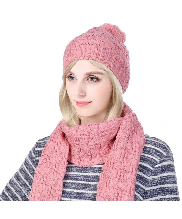 """Vbiger Warm Winter Knit Hat and Scarf Set- 2-Pieces Winter Knitted Set for Men and Women - """"  Beige """" - CG187R7W7O8"""