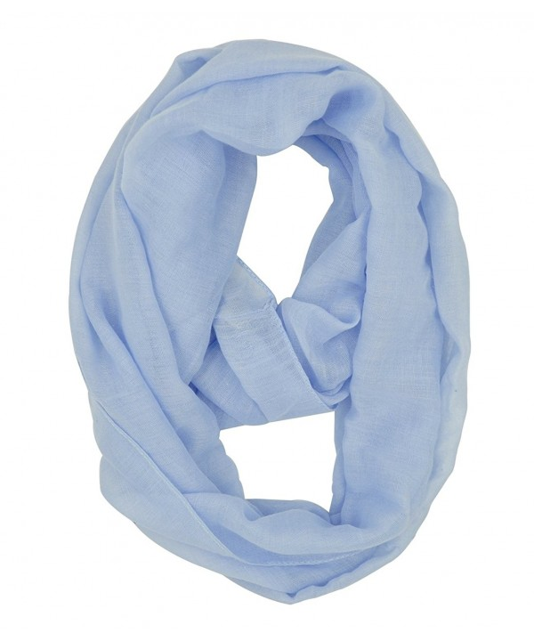 WishCart Lightweight Solid Color Girls Infinity Circle Scarf - Light Blue - CS12N0H4LNY