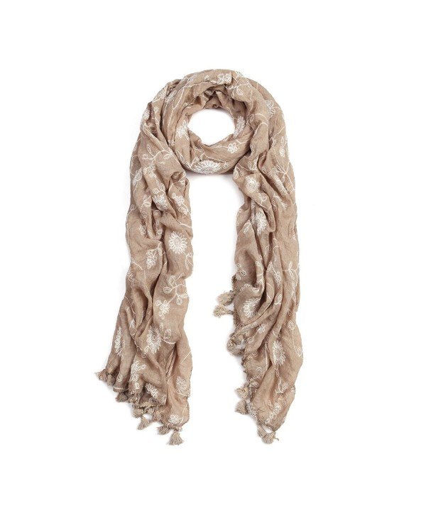 Premium Viscose Elegant Lace Floral Scarf - Different Colors Available - Taupe - C811O3KAQCL