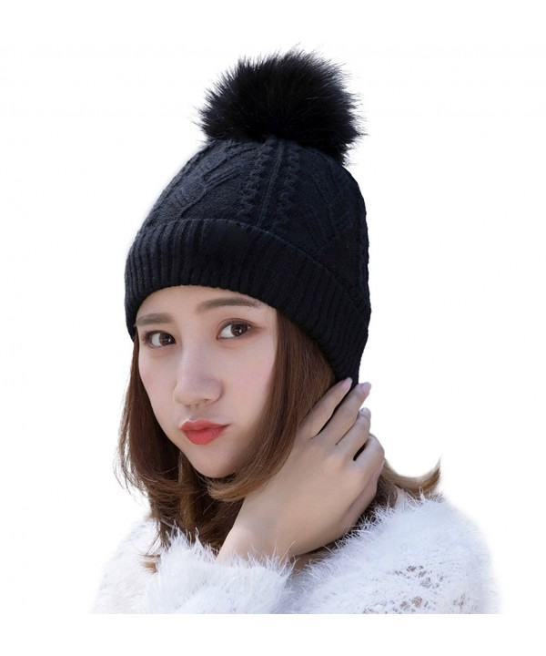 HindaWi Womens Beanie With Pom Pom Winter Hats Knitted Ski Wool Knit Warm Slouch Skull Caps - Black - CE184WN47N5