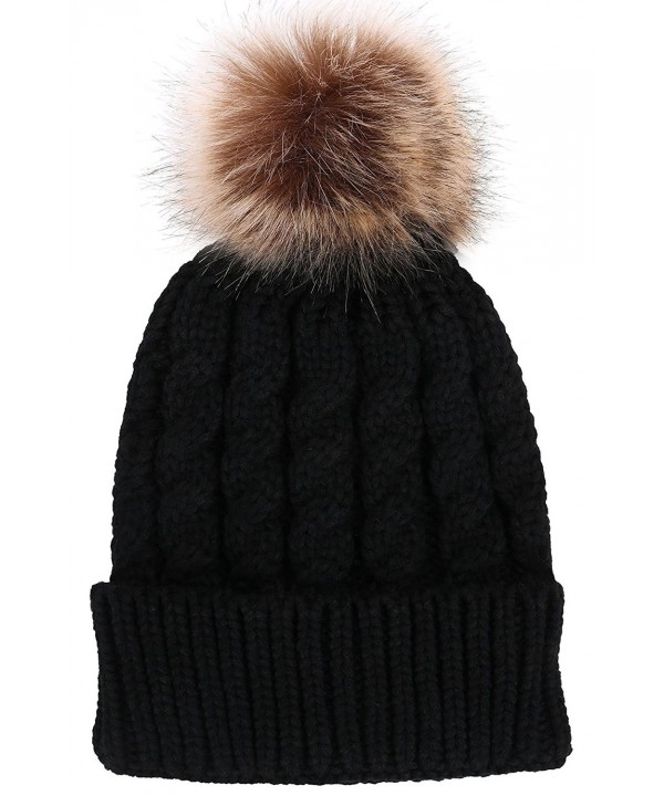 Verabella Women's Winter Soft Chunky Cable Knit Pom Pom Beanie Hats Skull Ski Cap - Black - CN188AO4SUK