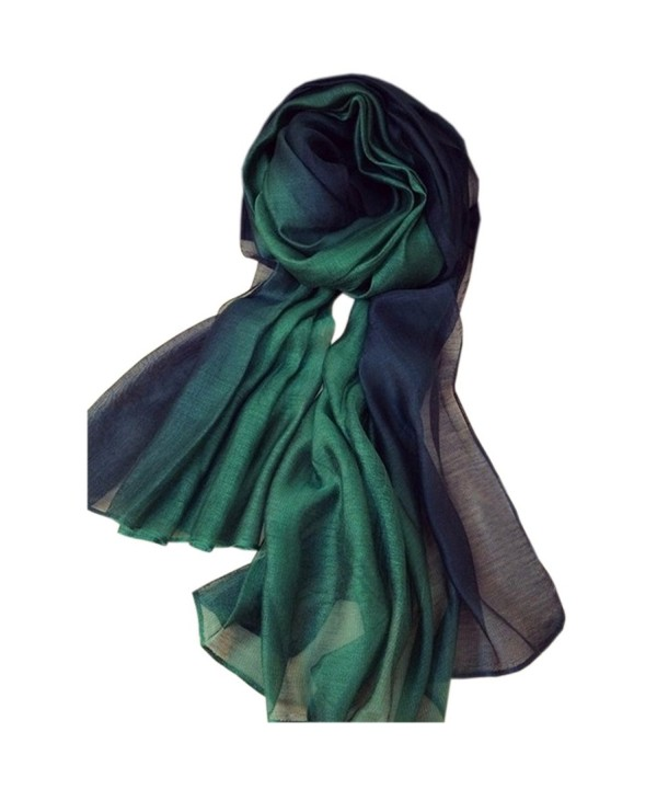 Unilove Summer Silk Scarf Gradient Color Long Lightweight Sunscreen Shawls for Women - Dark Green - CL17X0L2LUD