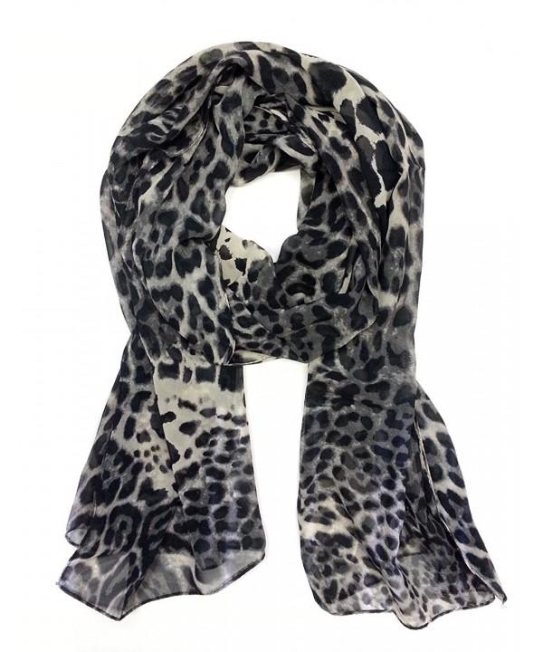 Styleinch Scarf Women's Valentine Chiffon Leopard Scarf - Gray - CX116SJHJC1