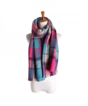 Women's Cashmere Scarf with Square Pattern - 3 C - CS1202RK3EF