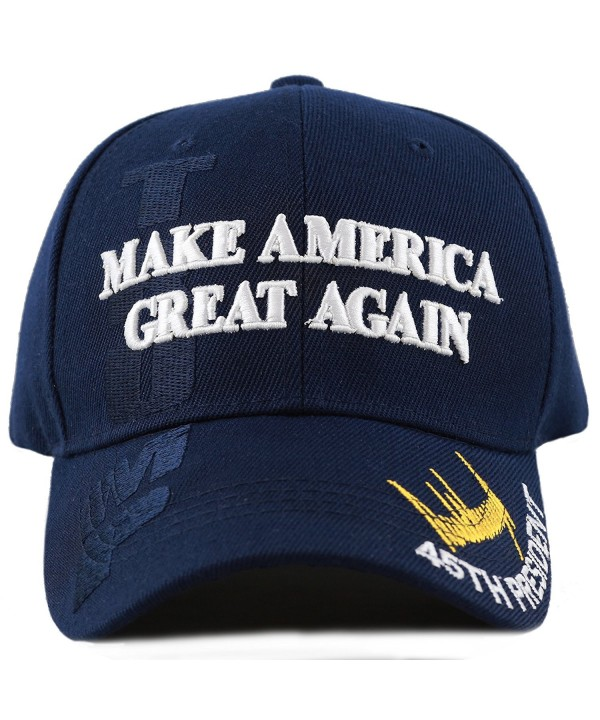 "The Hat Depot Exclusive 45th President Trump ""Make America Great Again"" 3D Cap - Navy - CP17YQND3LY"