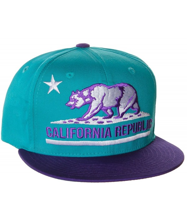 California Republic Unisex Flat Bill Visor Flag Bear Adjustable Plastic Snapback Hat Cap - - Blue - CT110MRLF25