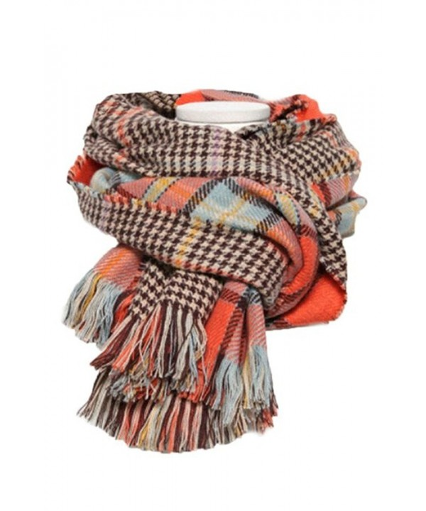 Staringirl Lovers Soft Houndstooth Reversible Dual Purpose Long Scarf Wrap Shawl - Orange - CZ11VBKF1OF