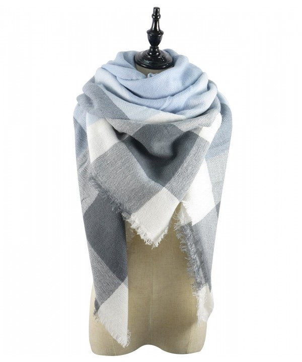 Durio Ladies Blanket Colorful Scottish - Light Grey Scarf - CA185U0WX9L