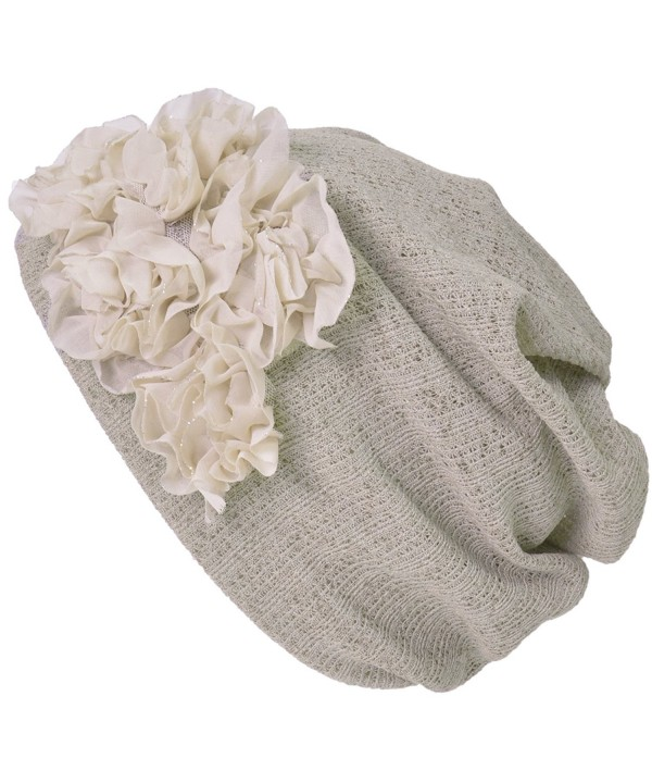Casualbox Charm Womens Flower Headband Neck Warmer Beanie Hat 3 Way Summer Winter Retro Ladies - Beige - C117Z6AHLGY