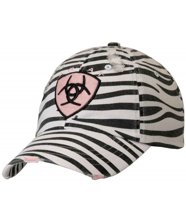 Ariat Accessories Women's Distressed Logo Baseball Cap - Zebra - CW11IIVF8HP