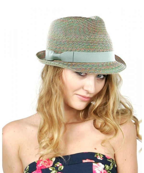 NYFASHION101 Women's Solid Color Band Multicolor Weaved Trilby Fedora Hat - CN11WWYH633