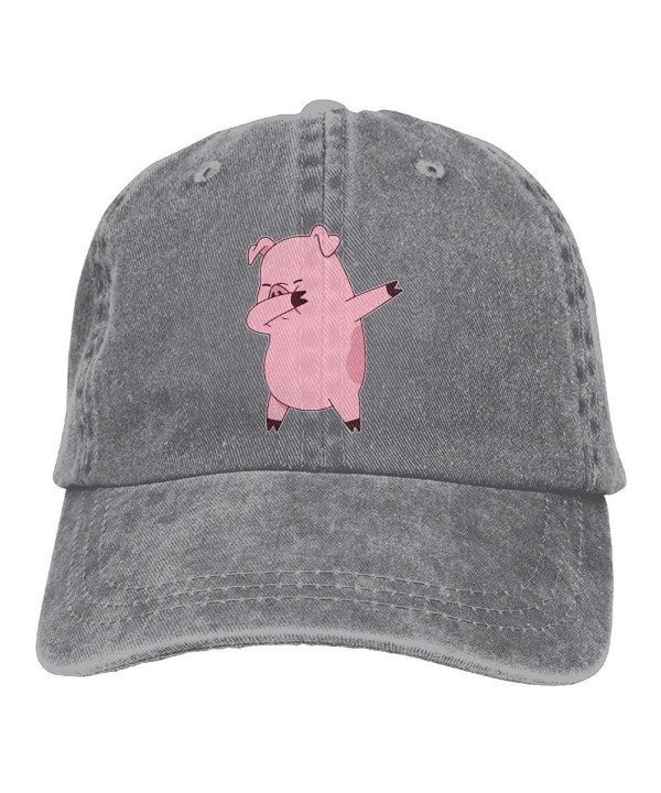Men's Or Women's Pig Dabbing Yarn-Dyed Denim Baseball Hat Adjustable Trucker Cap - Ash - CG187W487D7