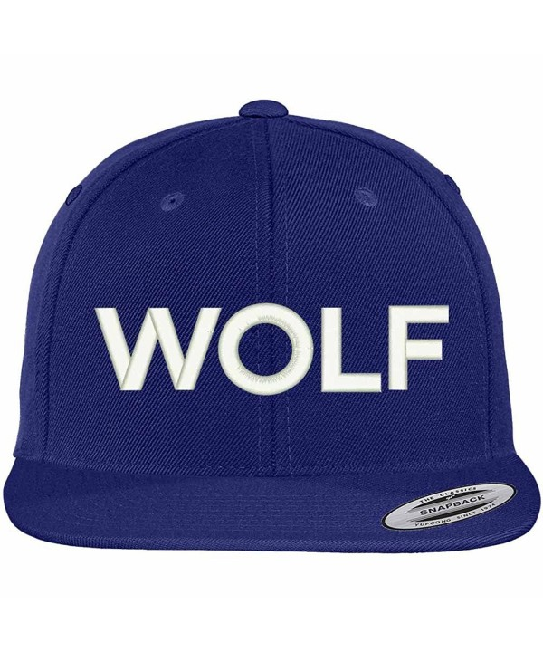 Trendy Apparel Shop Wolf Embroidered Flat Bill Snapback Ball Cap - Royal - C912GZC25J7