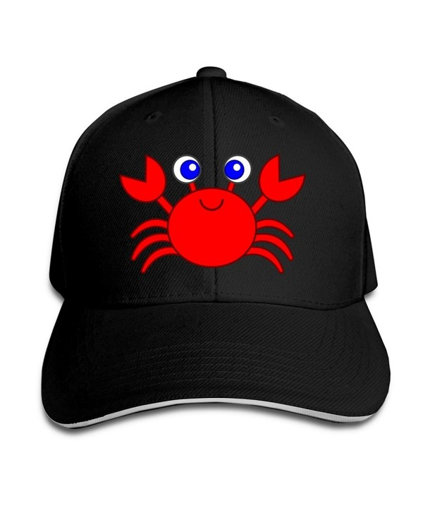 Cartoon Crab Unisex 100% Cotton Adjustable Trucker Hat Ash One Size - Black - CG12FRPURHP