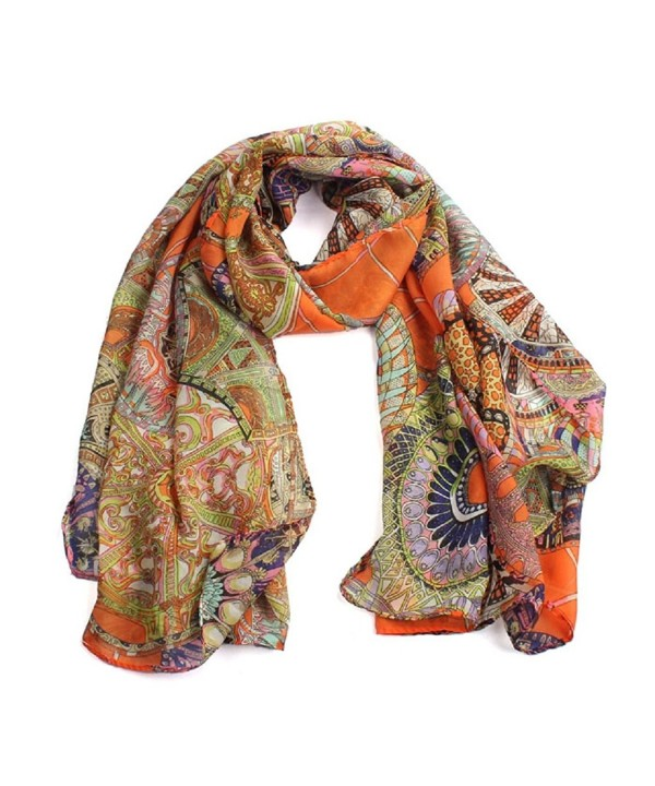 Scarf-Toraway Women Chiffon Silk Long Soft Wrap Scarf Stole Shawl Scarves (Orange) - CE12K277XNJ