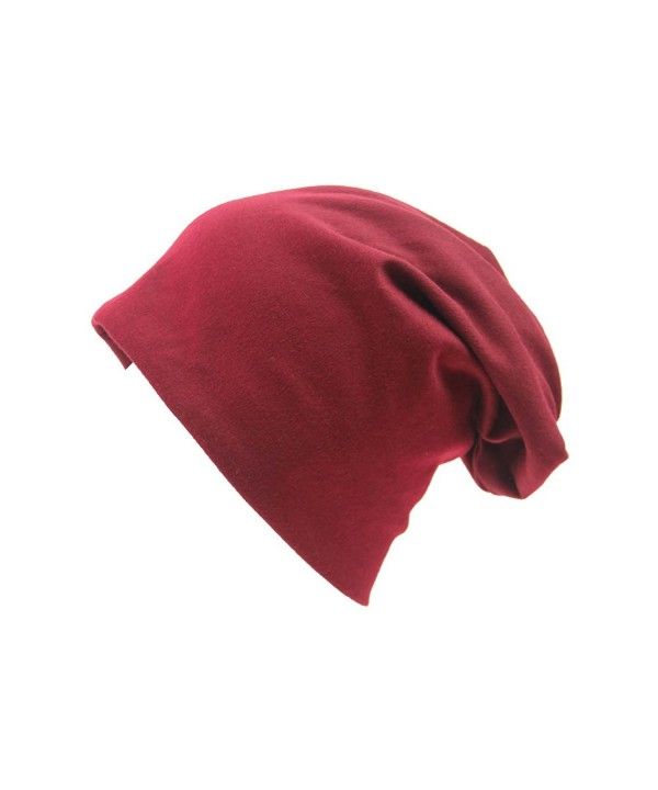 Opromo Unisex Baggy lightweight Hip-Hop Soft Cotton Slouchy Stretch Beanie Hat - Maroon - C1184T55QUO