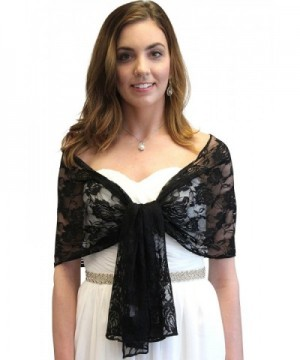 Black Lace Bridal Wrap Wedding Stole - CI11DWF3JTL