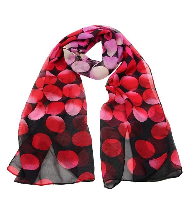 Women Chiffon Dotted Print Scarves Wraps Vovotrade - Red - CK1293FTKSH