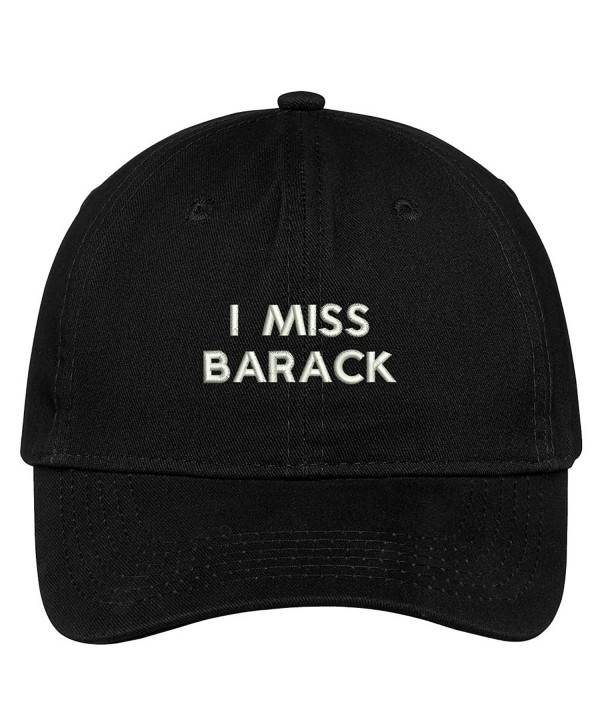 Trendy Apparel Shop I Miss Barack Embroidered 100% Quality Brushed Cotton Baseball Cap - Black - CH17YDOHDI7