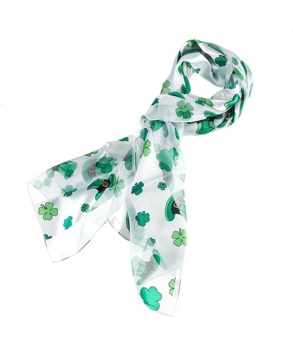 Shamrock and Hat Scarf for St Patrick's Day in White - CX11TZXH747