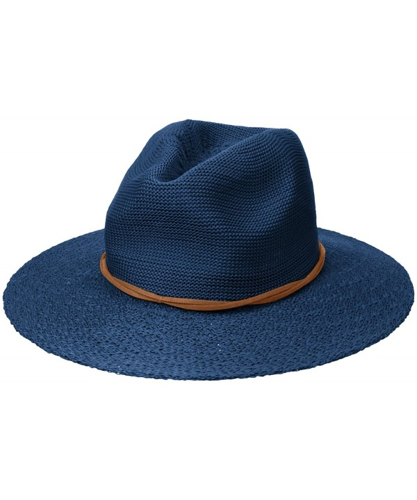 D&Y Women's Solid Knit Panama Hat With Textured Brim - Navy - CD12BL7VKRJ