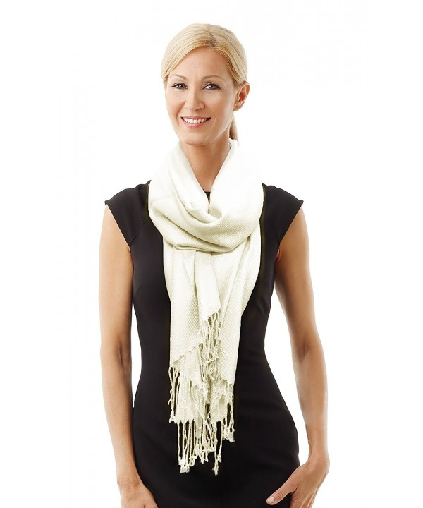 Paskmlna Beautiful Solid Colors Luxurious Pashmina Scarf Perfect Party Favor - 3off White - CY11VN8RXXR