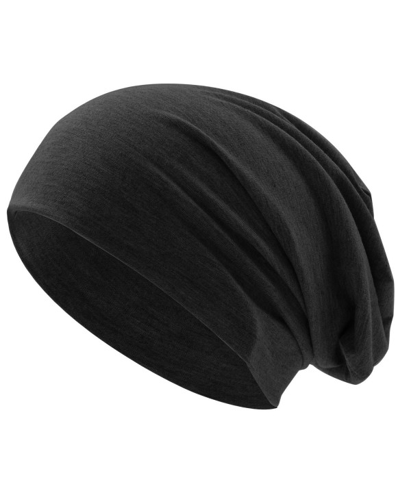UPhitnis Slouchy Skull Cap Beanie Daily Long Soft Beanie Hat For Men & Women Without Pattern(10+ Colors) - Black - CP186OZUUW8