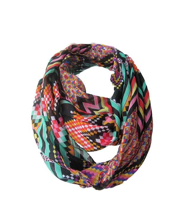 Sexyinlife Chiffon Chevron Multicolor Fashion Women's Infinity Loop Circle Scarf - Neon Black - CF1207VG3NV