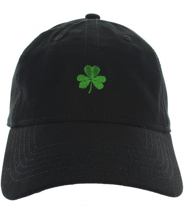 St. Patrick's Day Clover Dad Hat Baseball Cap Shamrock Hat Embroidered in USA Shamrock Cap Collection - Black - CT17WX9SDNQ