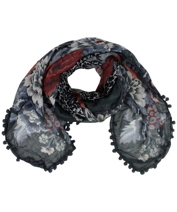 Multicolor Floral Square Scarf With Pom-Pom Trim - Gray - CS1167ES4C1