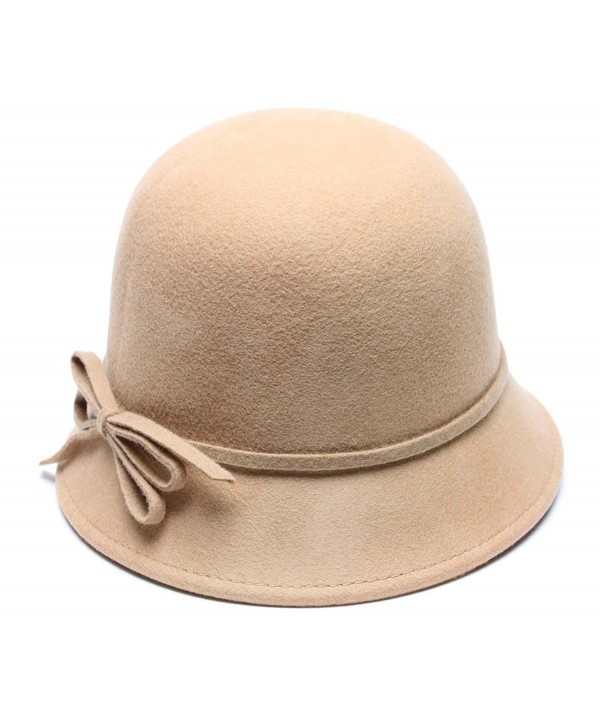 Mary Wool Bucket Hat with Bow Vintage Cloche Flapper Tea Party Derby Church - Tan - CU12MZ5A76P