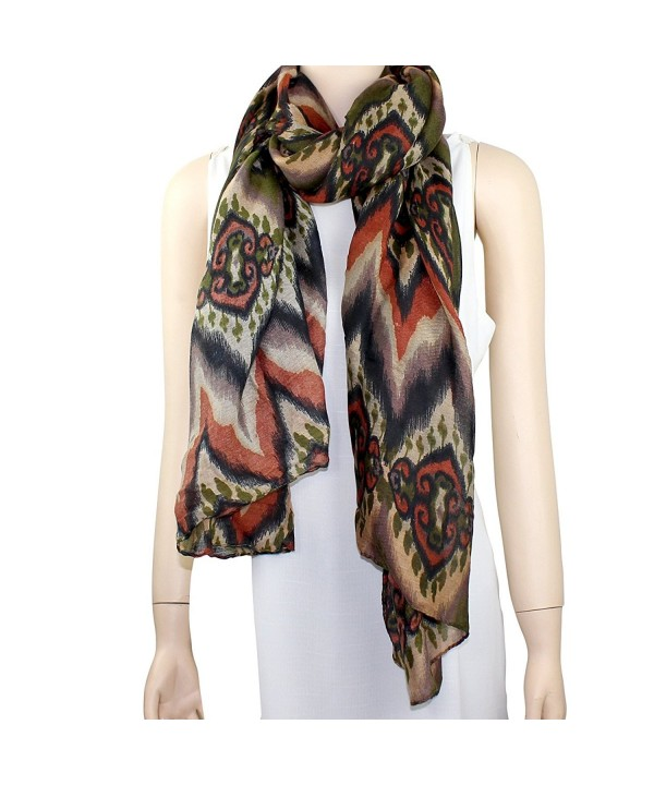 New Tribal Pattern Scarf - Olive and Brown - CS11IQ8ZQN1